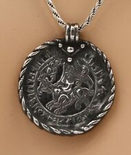 "In Sterling Silver with 20"" Ss Chain Unique Ancient Coin Like Pendant with Bezel"