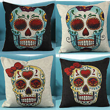 4 PCS Mexican Day of the Dead Sugar Skull Linen Pillow Case Cushion Cover Y4KD5