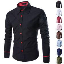 Mens Slim Fit Luxury Stylish Long Sleeve Casual Dress Shirt T-Shirt Tops Hot EZ