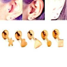 ROSE GOLD STEEL STAR HEART SQUARE INTERNALLY THREADED LABRETS TRAGUS HELIX STUDS