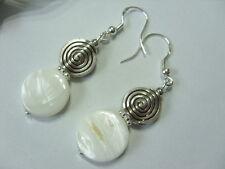 Edle 15 mm weiße Perlmutt Scheiben Button Ohrringe Ohrhänger Earrings