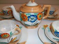 Hotta Yu Shoten Japan Antique Seventeen Piece Lusterware Tea Set