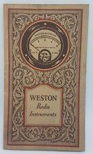 Septembre 1926 Circuilar - Weston Radio Instruments - Guide Et Spécifications