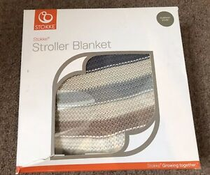 Boxed STOKKE Knitted Baby Blanket With Poppers - Multi Stripe HORIZON Grey, Blue