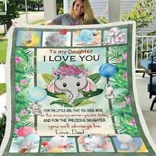 To Precious Daughter from Daddy Elephant Sherpa Plush Quilt, Fleece Blanket