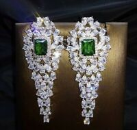 Green Emerald & Diamond Chandelier Earrings 18K White Gold Over Designer Jewelry