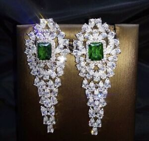 18K White Gold GF Long Earrings made w Swarovski Crystal Green Emerald Stone