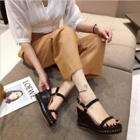 Womens Summer Peep Toe Platform Wedge Slingback Sandals Ankle Strap Shoes Size