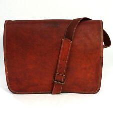 Brown Tan Real Natural Leather Vintage Messenger Satchel Shoulder Laptop Bag