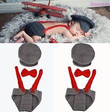 Neugeborene Baby Knit Strick Fotoshooting Kostüm Pilot Mütze Lätzchen Krawatte