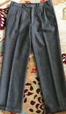 TAILORS BENCH BESPOKE ~MENS GRAY~HERRINGBONE~ WOOL FLANNEL PANT SIZE 34/31 USA