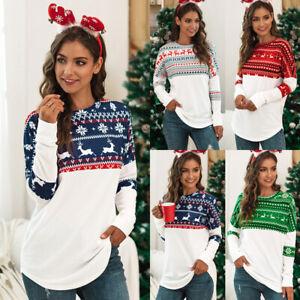 UK Womens Long Sleeve Tee Blouse Ladies Party T Shirt Xmas Christmas Loose Tops