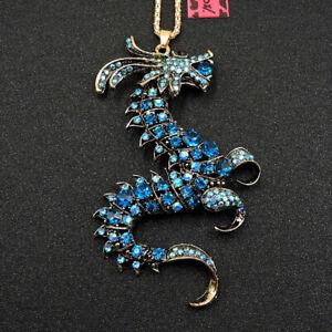 Betsey Johnson Blue Enamel Cute Dragon Animal Crystal Sweater Chain Necklace