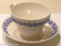 ❤WEDGWOOD QUEENSWARE ~TEA CUP AND SAUCER~ EMBOSSED BLUE ON WHITE SMOOTH TEACUP❤