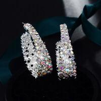 Fashion U-shaped Colored Rhinestone Earrings Ear Stud Hoop Womens Jewelry Gifts