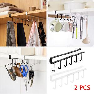 2Pcs 6 Hooks Metal Under Shelf Cup Mug Kitchen Cupboard Hanging Rack Holder UK