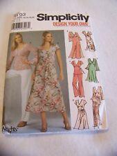 SIMPLICITY 5193 MISSES MISS PETITE DESIGN YOUR OWN DRESS TOP & PANTS SIZE  14-20