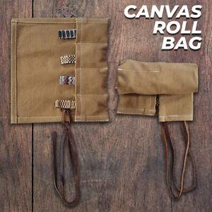 Canvas Travel 4 Pocket Watch Roll, Canvas Storage Watch Roll, Watch Holder Gift