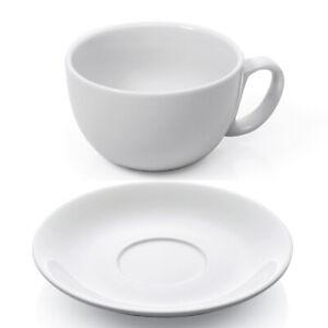12 tlg. Milchkaffee Tassen Set - Weiß, 350 ml, Porzellan - Milchkaffeetassen