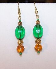 Handmade GREEN & GOLDEN AMBER GLASS BEAD DROP DANGLE EARRINGS