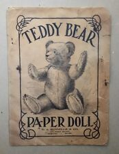 Extremely Rare Collectible 1907 Teddy Bear Paper Doll Original Complete Set Wow!