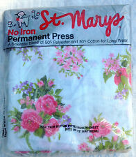 Vintage St Marys Twin Fitted Muslin Sheet NOS Rose Floral White Pinks Blue NIP