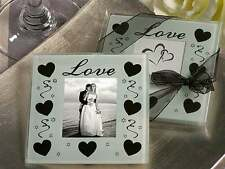 25 White wedding bomboniere glass photo holder coaster heart bomboniere- 2 p/set