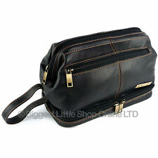 New Mens Rowallan BLACK LEATHER Wash Bag Top Frame Travel Toiletries Quality