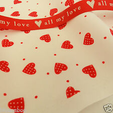 PER half metres valentines/heart fabrics pink blue red  100% cotton 112cm wide