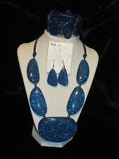 STYLE & CO NWT $74 women's necklace bracelet & earrings set royal blue disco