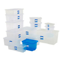 Plastic Storage Box Containers Blue/Clear/Pink Wham 16-80 Litres With Lid Boxes