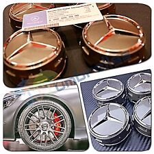 X 4 MERCEDES AMG GREY WHEEL CENTRE CAPS 75MM FITS A C E M A45 CLASS C63 C43 E63