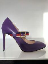 Gucci Sylvie Purple Shiny Leather Pumps 39 RP£725 Marmont Ace Web Princetown