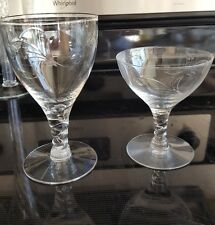 RARE! Set 12 Vintage Seneca Arcadia Scroll Cut Etched Crystal Water Wine Glasses
