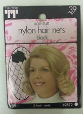 Vintage Hair Nets! Nylon! Non-Run! Pack of 3! (Black ! ) Unique old Items! Nice!