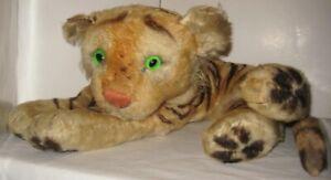 "Old Lg 20"" Steiff Straw Stuffed Mohair Tiger - Germany - It's Glass Eyes Glow"