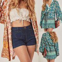 Women Plus Size Loose Tunic Jacket Coat Long Sleeve Floral Kimono Cardigan Shirt