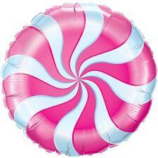 """Rosa Candy Cane remolino Cumpleaños Willy Wonka Partido 18 """"globo de la hoja!"""