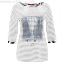 S.Oliver Stripe T Shirt 3/4 Sleeve 'Beautiful' Print Size 36 (UK 10) SA078 CC 06