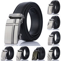 Men Automatic Buckle Belt PU Leather Belts Waist Ratchet Business Waistband
