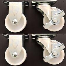 """3"""" x 1-1/4"""" Nylon Wheel Plate Caster Set"""