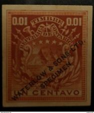 O) 1862 COSTA RICA, SPECIMEN IMPERFORATE-ESSAY PROOF, COAT 1 CENTAVO - 0.001 WAT