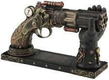 Veronese Bronze Figurine Steam Punk Steampunk Art Six barrel pistol on stand