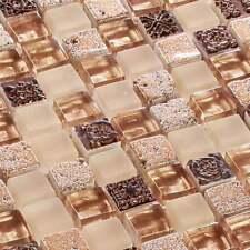 Glasmosaik Fliesen Mosaik Crossover Beige 15 x 15 x 8 mm