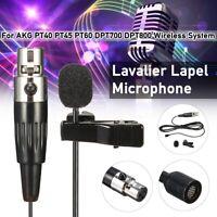 Lavalier Lapel Microphone For AKG PT40/45/60 DPT700/800 Wireless XLR Mini 3-Pin