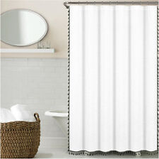 Luxury Shower Curtain White Cotton Linen Like Texture with Grey Tassels 72 x 72""