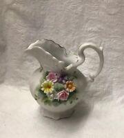 """Lefton China KW3221 Mini Porcelain Pitcher Raised Flowers 4.5"""""""