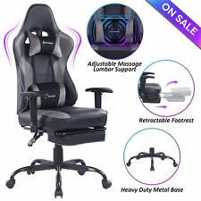 VON RACER Massage Gaming Chair,High Back Racing Computer Desk Office Chair, Gray