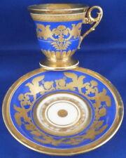 Antique 19tC French Feuillet Paris Porcelain Cup & Saucer Porzellan Tasse France