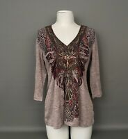 Women's ONE WORLD 3/4 Sleeve Embellished Front Tan/Brown V Neck Top-Shirt